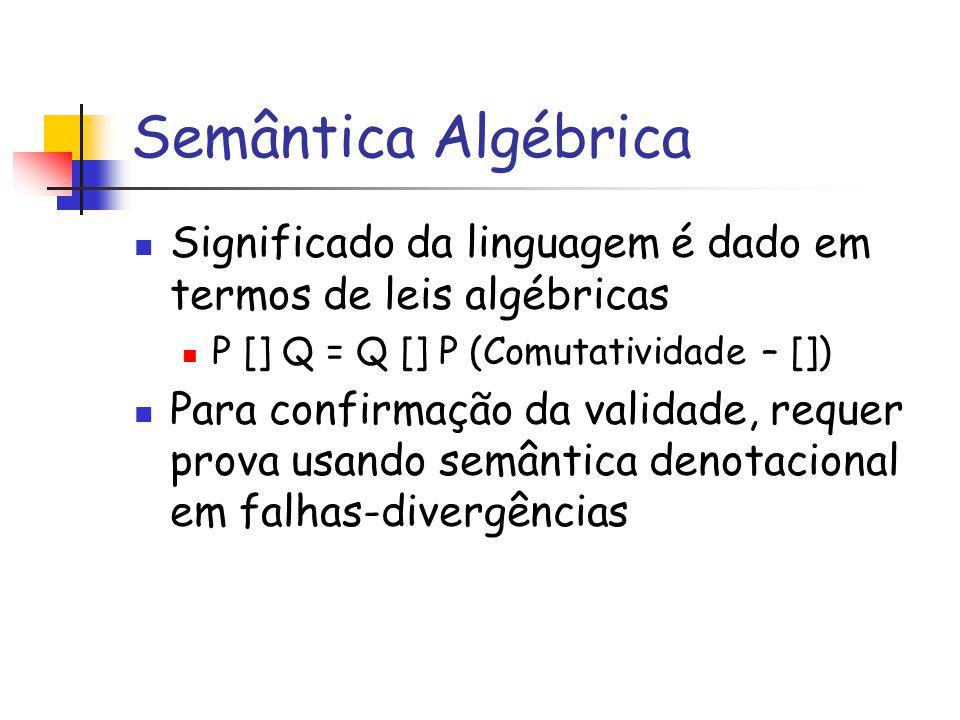 Semântica Algébrica Significado da linguagem é dado em termos de leis algébricas. P [] Q = Q [] P (Comutatividade – [])